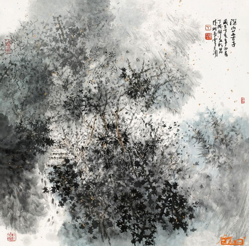 丁德邻-深山藏古寺-淘宝-名人字画-中国书画服务中心
